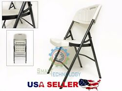 NEW Indoor Outdoor PLASTIC Folding Utility Chair Metal Frame Long-Life WHITE