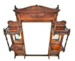 HIGH VICTORIAN 1870'S HAND-CARVED CHERRY WOOD FIREPLACE OVER-MANTEL