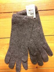 NWT Ann Taylor Cashmere Blend Gloves Charcoal With Metallic Threads Os