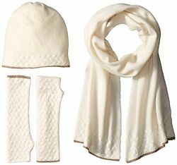 La Fiorentina Women's Cashmere Cable Beanie Scarf and Fingerless Glove Set One