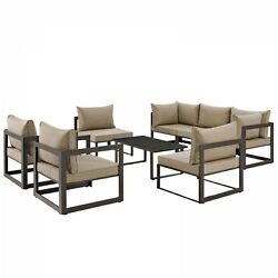 Modway EEI-1725-BRN-MOC-SET Fortuna 8 Piece Outdoor Patio Sectional Sofa Set In
