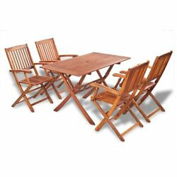 5pc Garden Rectangle Dining Table Outdoor Acacia Wood 4 Chairs Folding Furniture