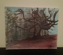 log cabin winter tree of life wall art original canvas painting home decor 16x20
