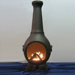 Cast Aluminum Chiminea Outdoor Fireplace Fire Pit Heating Grilling Deck Patio
