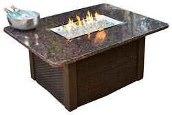 Outdoor Greatroom Grandstone Gas Fire Pit Coffee Table with Brown Wicker Base