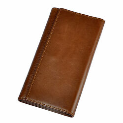 Men Real Leather Simple Handmade Long Wallet Trifold Card Cash Holder