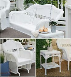White 3 Piece Resin Wicker Glider Swing Collection Home Patio Furniture Poolside