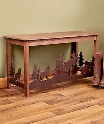 ENTRYWAY BENCH LOG CABIN MOOSE BEAR WOLF LODGE LIVING ROOM RUSTIC HOME DECOR