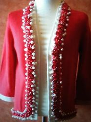 Chanel 10P LESAGE Red Cashmere Jacket Cardigan With Pearls Trim FR44 $3850