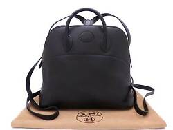 Auth HERMES Square A (1997) Bolide A Dos Backpack Black Leather - e28910
