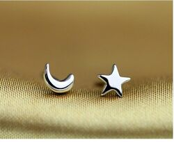 925 Sterling Silver Moon Star Simple Club Asymmetric 8mm Earrings gift box A3 $8.95