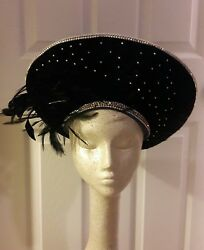 Jack McConnell Vintage Blue Hat  Wool Black Feathers Stone's NEW PHOTOS