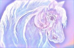 Soft Soul Horse Painting . Stretched Canvas . Equine Art . Western Home Decor'