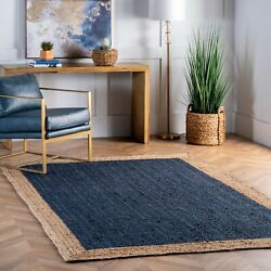 nuLOOM Contemporary Modern Simple Bordered Natural Jute Area Rug in Navy Blue $47.99
