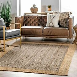 nuLOOM Contemporary Modern Simple Solid Bordered Natura Jute Area Rug in Grey $51.99
