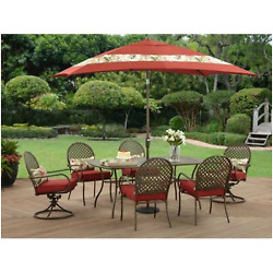 Outdoor Garden Swive lPatio Furniture Dining Set 7 Piece Chairs Table Lawn 1d