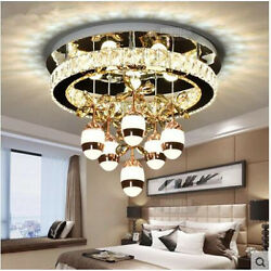 Dimmer Round LED crystal bedroom ceiling light modern living room restaurant lam $253.50