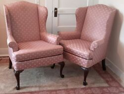 Vintage Queen Anne Wing Back Chairs [2] Pair Formal Woodmark USA