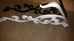 Small Handrail 1-2 Step Wrought Iron Rail Forged Ornamental Scrollwork Handmade