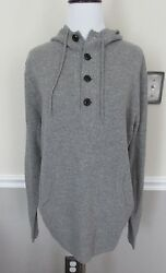 NWOT J. Crew Italian Cashmere Gray Hoodie Hooded Sweater Size M (MSRP $298)