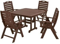 Patio Dining Set Garden Outdoor Table Chairs Maintenance Free All Weather Brown