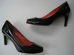VIA SPIGA PATENT BLACK LEATHER PUMP PEP TOE HEELS 8M HOT SEXY GREAT