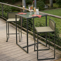 3 Piece Bistro Dining Set Pub Table 2 High Chairs Outdoor Patio Furniture Garden