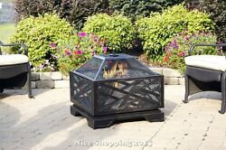Modern Fire Pit Outdoor Fireplace Wood Burning Patio Heating Backyard Grilling