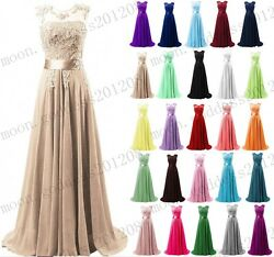 Long Chiffon Lace Evening Formal Party Ball Gown Prom Bridesmaid Dress Size 6 26