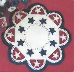 Americana Stars felted wool applique penny rug candle mat pattern Cath's Pennies