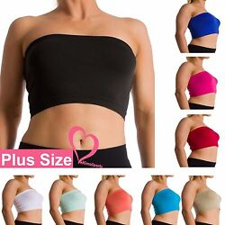 Plus Size Seamless Strapless Bandeau Bra Tube Top Sports Bra Yoga XL 1X 2X 3X 4X $4.99