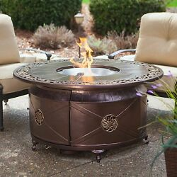 Propane Fire Pit Table with Decorative Scroll Outdoor Round Large Backyard Patio