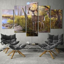 Animal white tailed deer 5PCS HD Canvas Print Home Decor Picture Wall Paintings $19.99