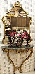 Antique French Gold Louis XV Carved Console Marble Top with Mirror Circa 1890