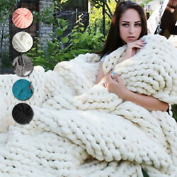Fashion Hand Chunky Knitted Blanket Thick Yarn Merino Wool Bulky Knitting Throw