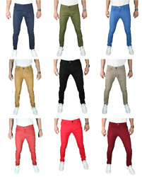 Mens Slim Fit Stretch Chino Trouser Pants Solid Skinny Slim Fit Jeans Pant