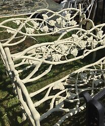 Pair of vintage cast iron twig and grape design garden patio benches