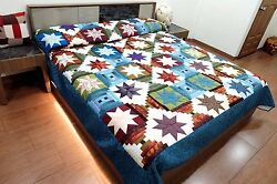 Handmade King Size Quilt Homemade Patchwork Log Cabin Multi Star Hand Stitched