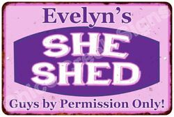 Evelyn's Purple & Pink SHE SHED Vintage Sign 8x12 Woman Wall Décor A81200230