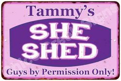 Tammy's Purple & Pink SHE SHED Vintage Sign 8x12 Woman Wall Décor A81200108