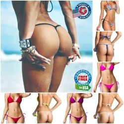 Coqueta Bikini Set Bottom Mini Micro G-string & Tri Top Sexy New Thong Swimsuit
