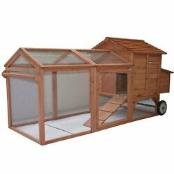 Pawhut Chicken Coop Hutch Kit Large Outdoor Backyard Big Wooden Wheels Rolling