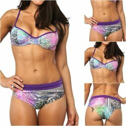 BAMBU women brazilian bikini set exotic BLUE print black swimsuit unpadded top
