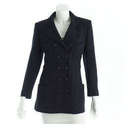 AUTHENTIC CHANEL WOOL JACKET P09172V03075 NAVY GRADE A USED -AT