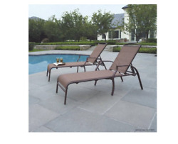 Outdoor Adjustable Chaise Lounge Chair Patio Double Pool Chaise Lounge Chair Set
