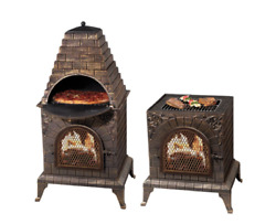 Wood-Fired Pizza Oven Outdoor Chiminea Fireplace Barbeque Grill Antique Bronze