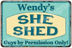 Wendy's SHE SHED Vintage Look Sign 8x12 Chic Woman Metal Wall Décor 8127883