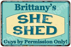 Brittany's SHE SHED Vintage Look Sign 8x12 Chic Woman Metal Wall Décor 8127955