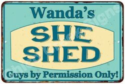 Wanda's SHE SHED Vintage Look Sign 8x12 Chic Woman Metal Wall Décor 8127855