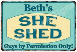 Beth's SHE SHED Vintage Look Sign 8x12 Chic Woman Metal Wall Décor 8127967